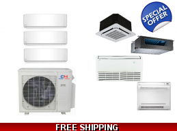 C&H 3 Zone 22 SEER Ductless Mini Split Heat Pump..